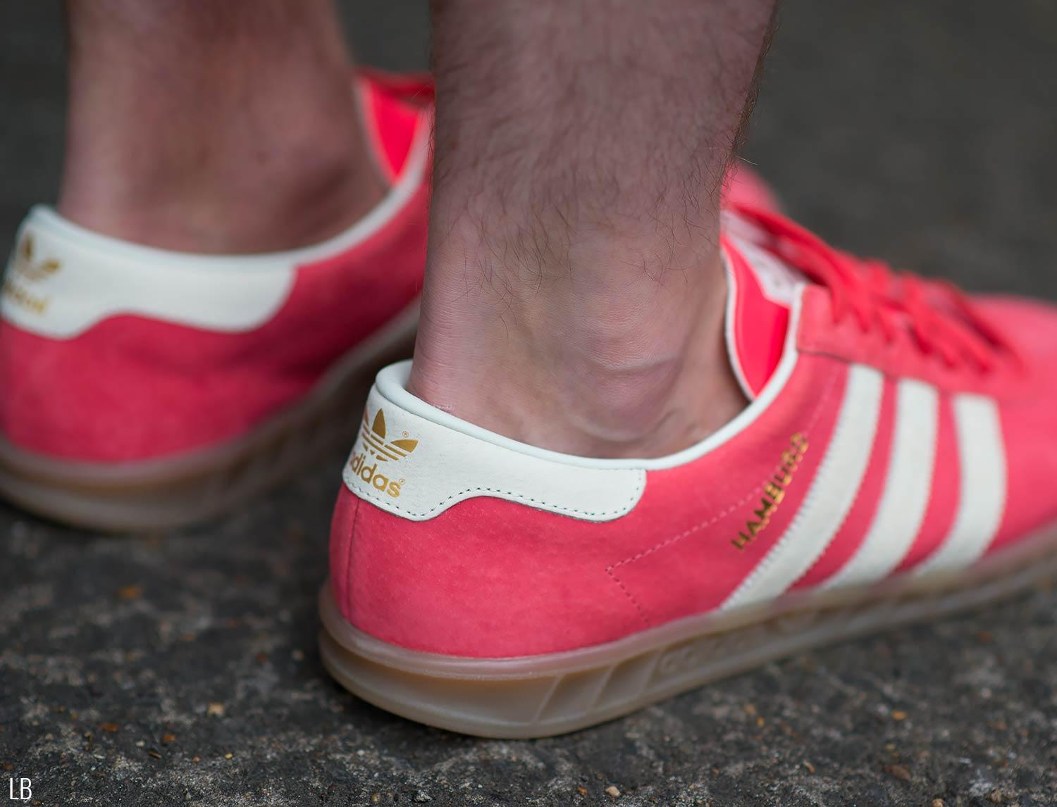 Men's Adidas Hamburg Shock Red Gum Trainers Sneakers Review 3