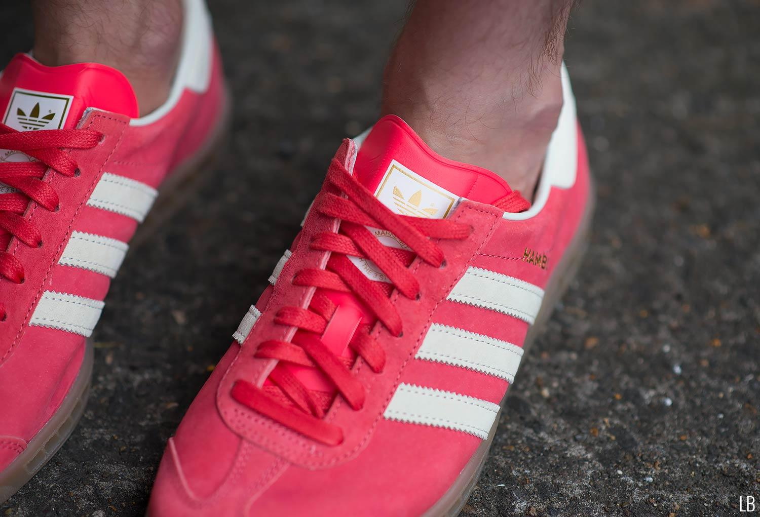 Men's Adidas Hamburg Shock Red Gum Trainers Sneakers Review 4