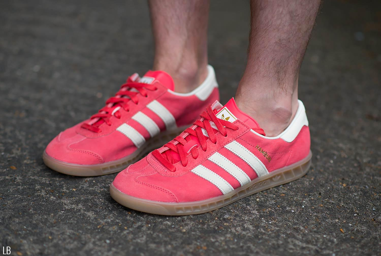 Men's Adidas Hamburg Shock Red Gum Trainers Sneakers Review 5
