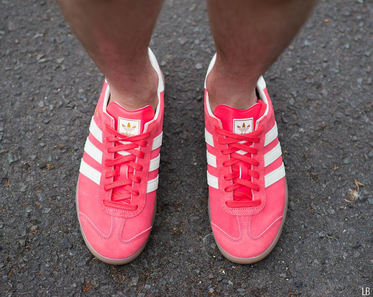 Men's Adidas Hamburg Shock Red Gum Trainers Sneakers Review 6
