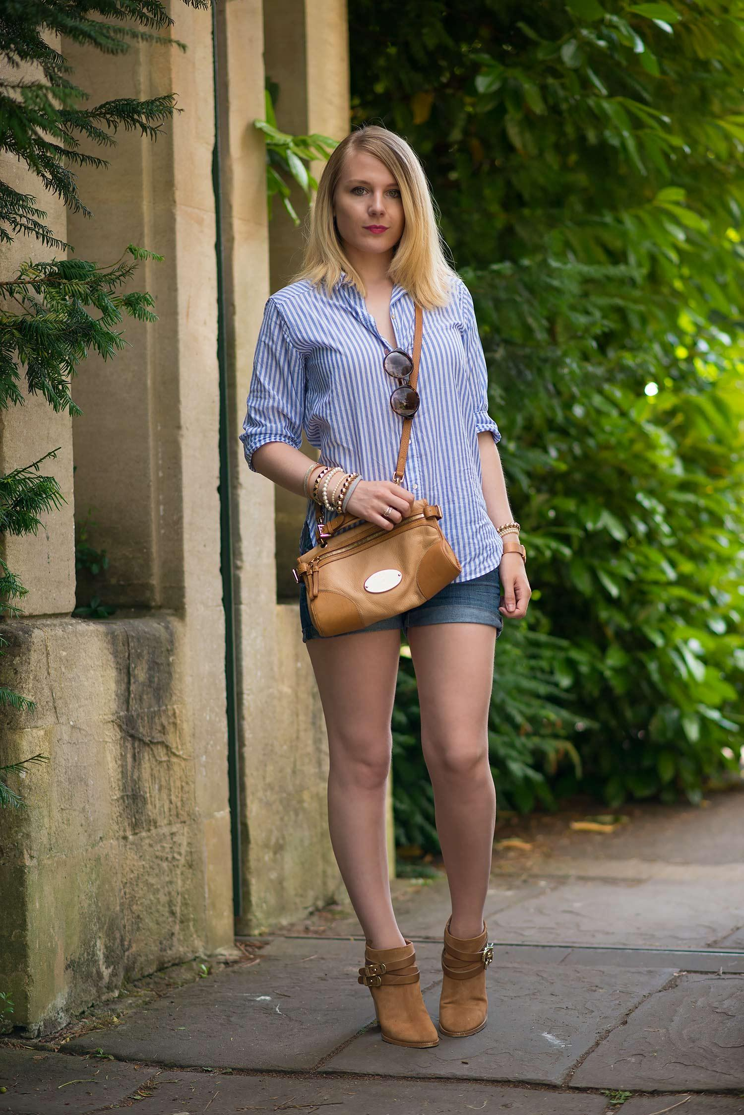 fashion blogger boyfriend shirt with shorts