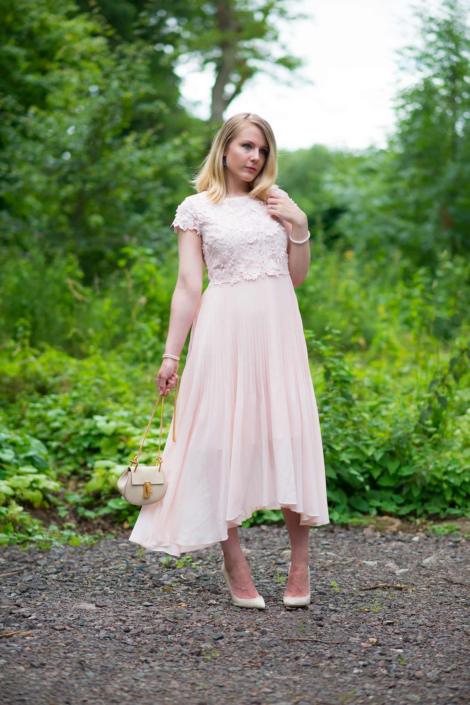 fashion blogger coast pink lace dress