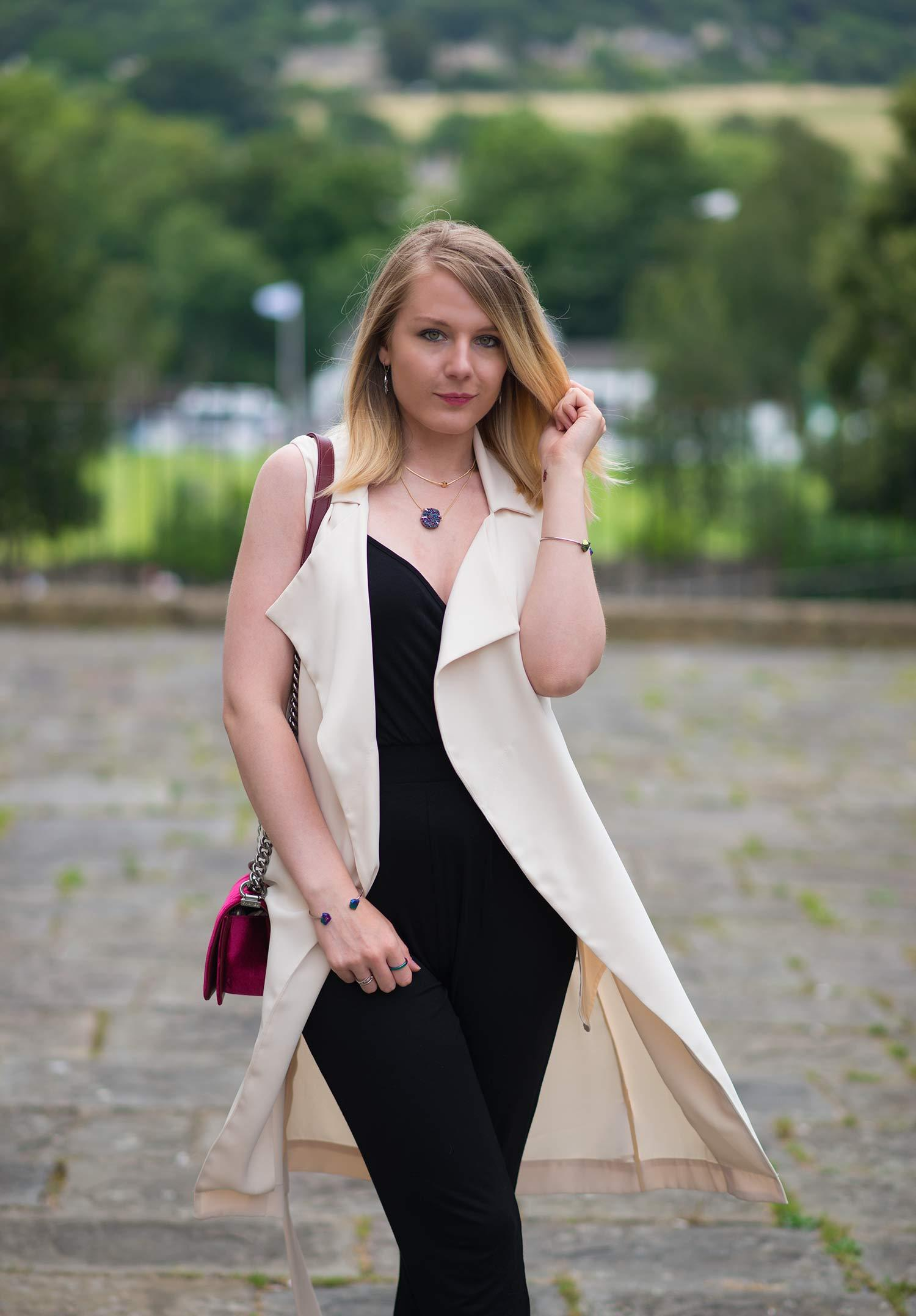 sleeveless duster with jumpsuit