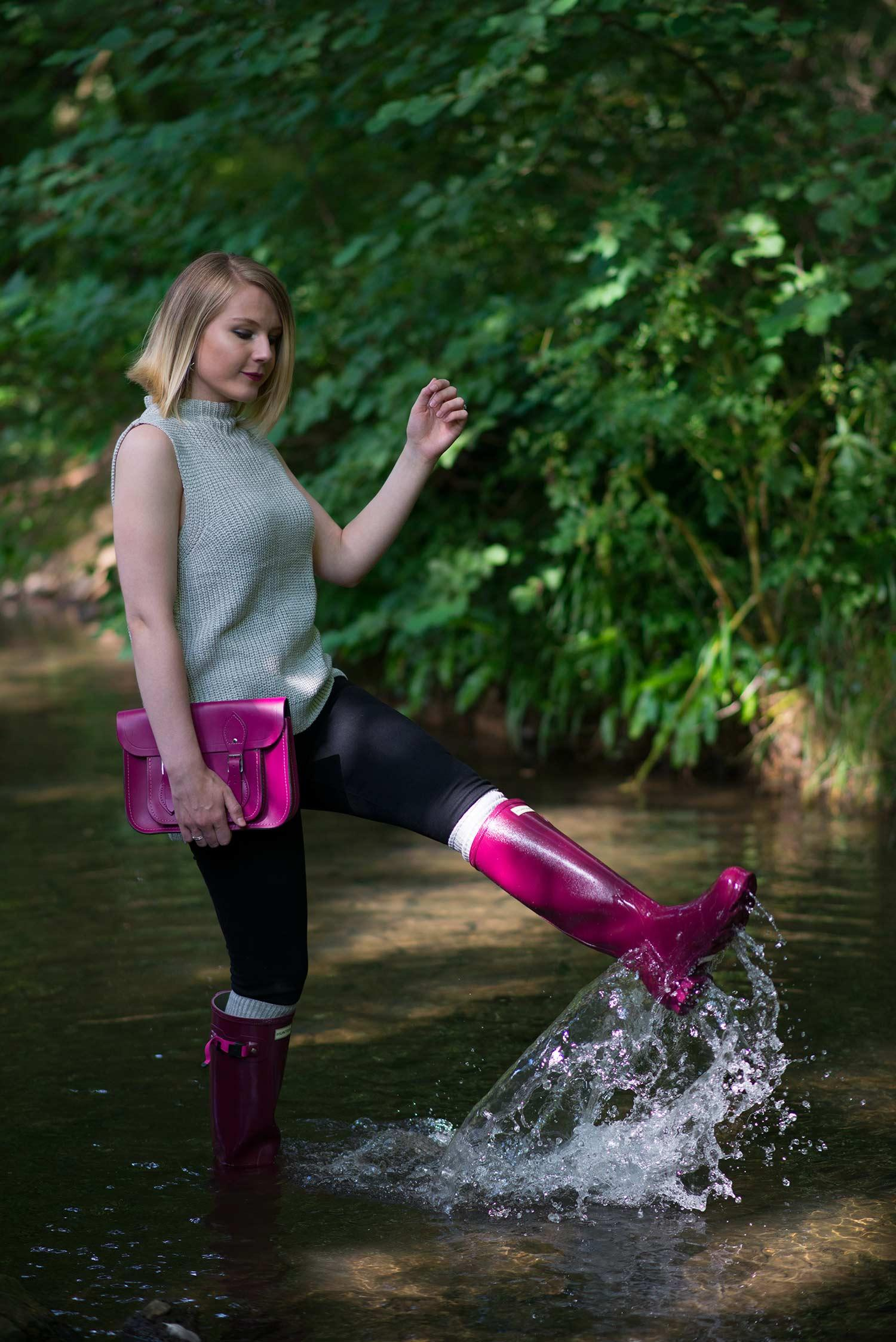 splashing in wellies girl rain boots