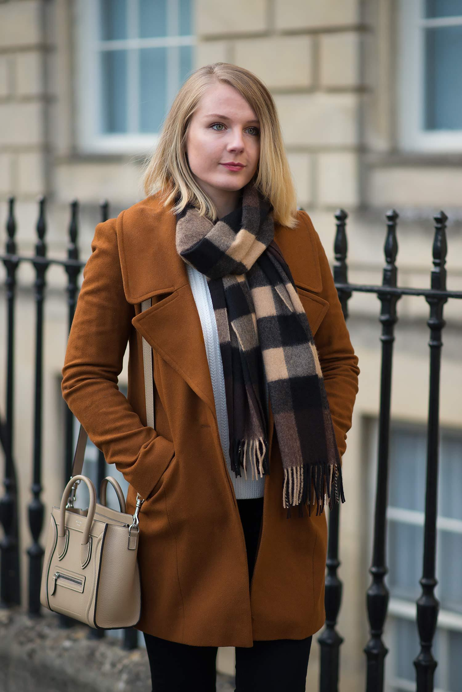 burberry-plaid-scarf-chesnut-brown-coat-outfit