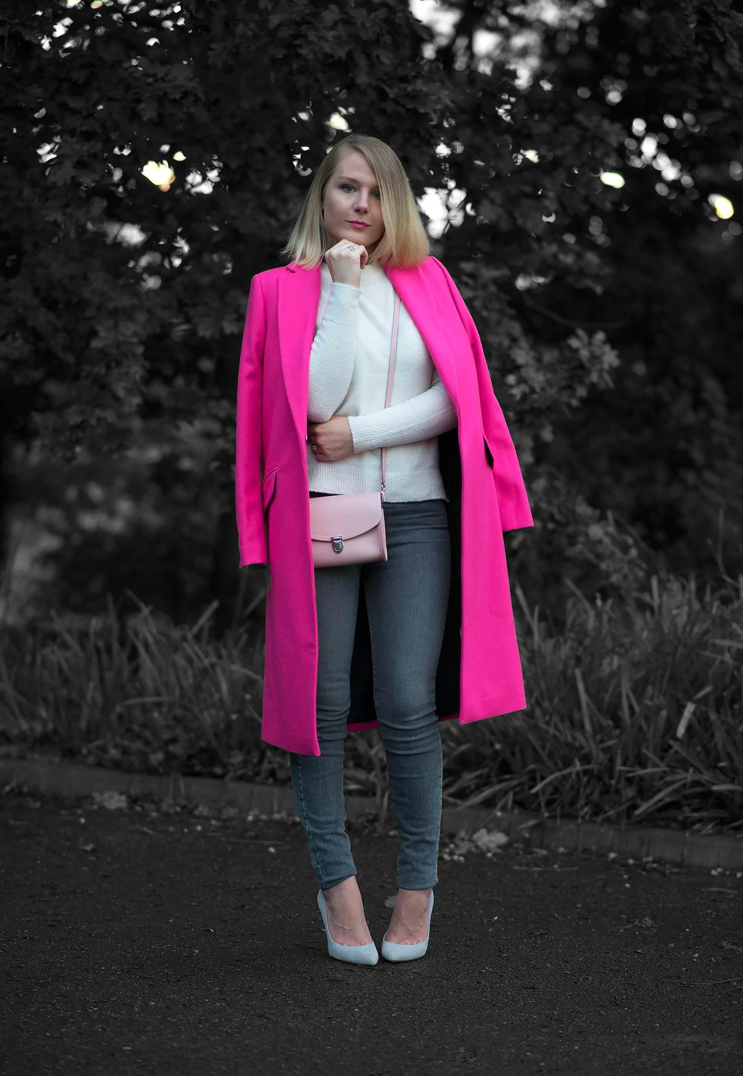 The Fluro Pink Wool Coat | Raindrops of Sapphire