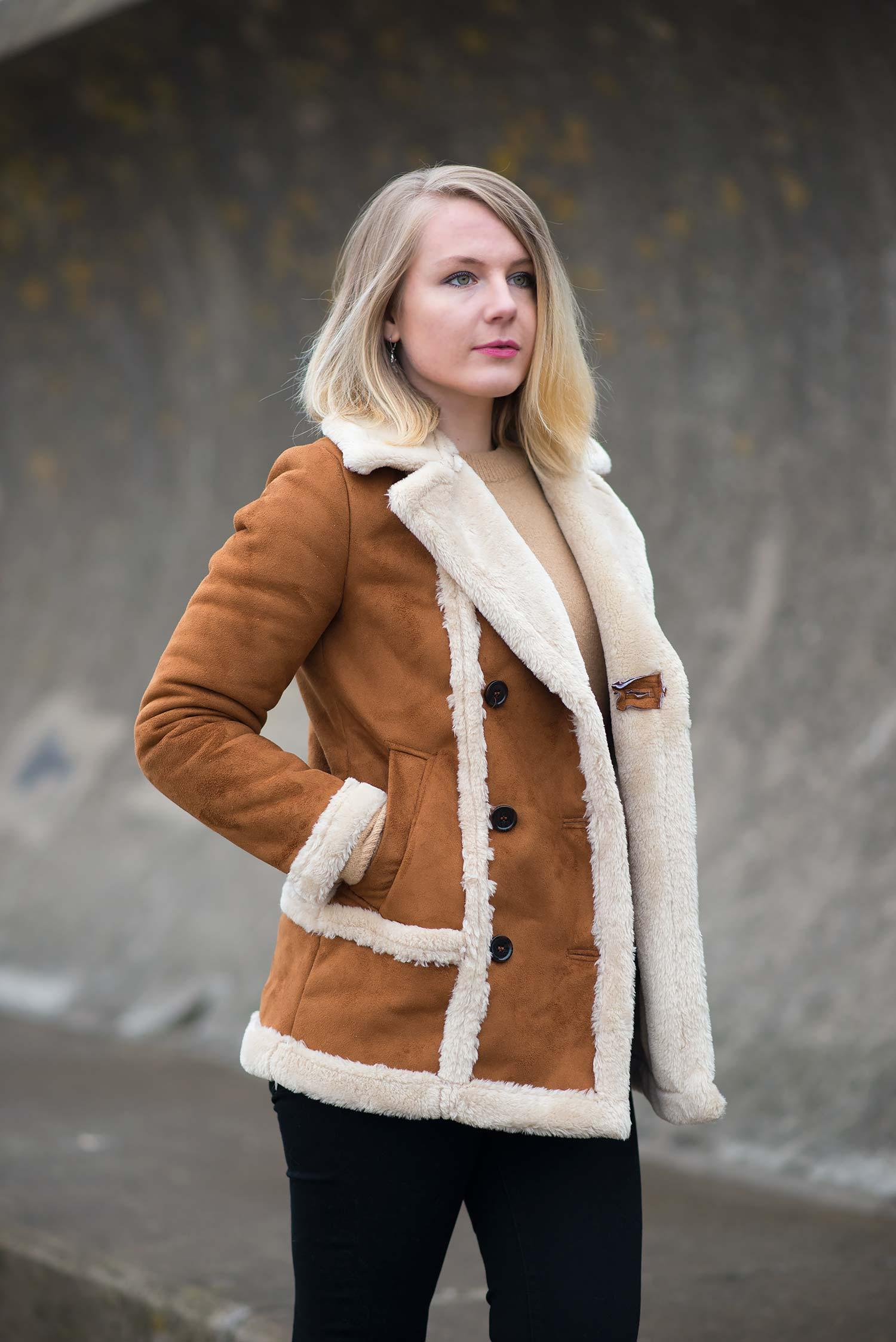 The Topshop Faux Fur Shearling Tan Coat | Raindrops of Sapphire