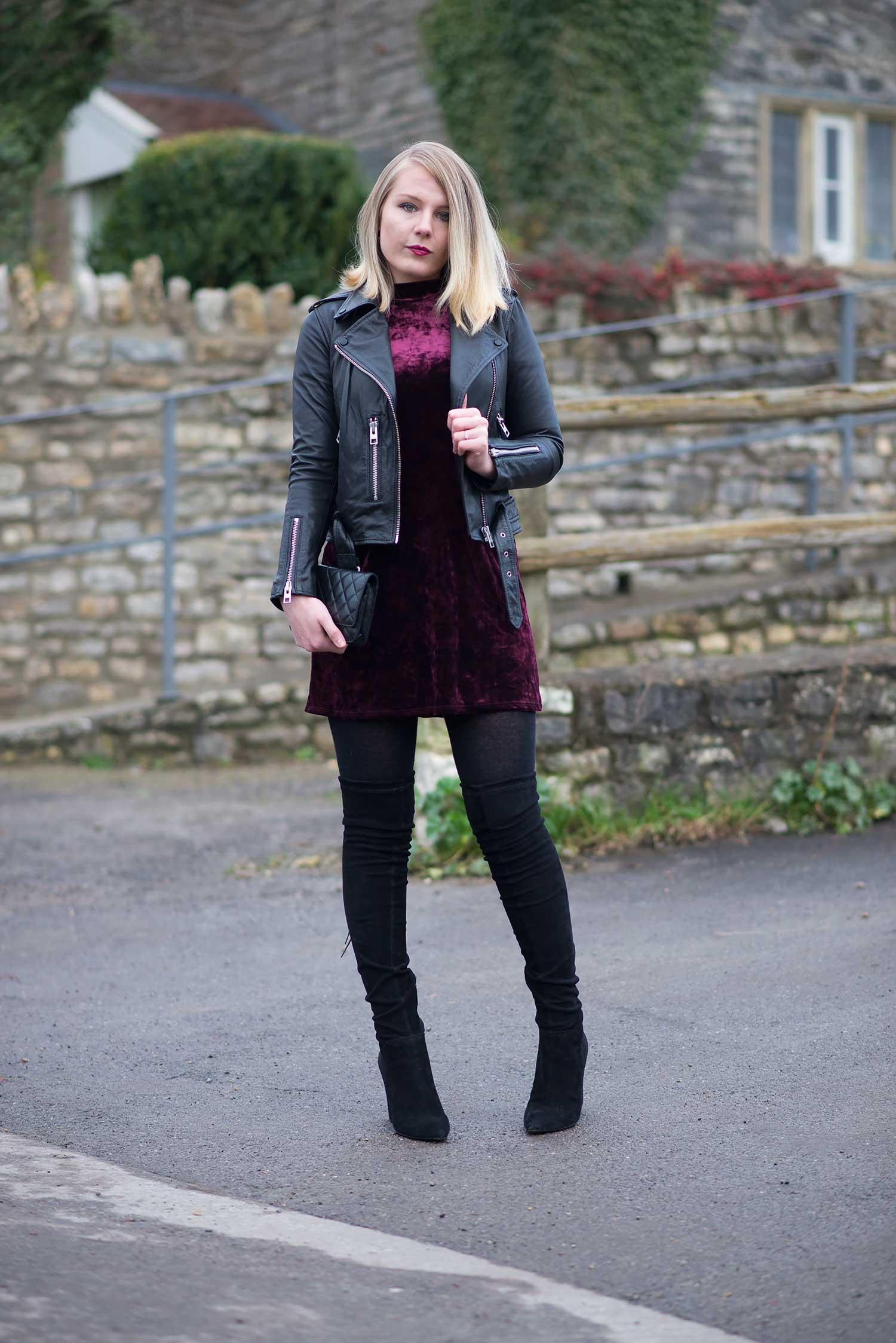 allsaints-black-balfern-leather-jacket-velvet-dress