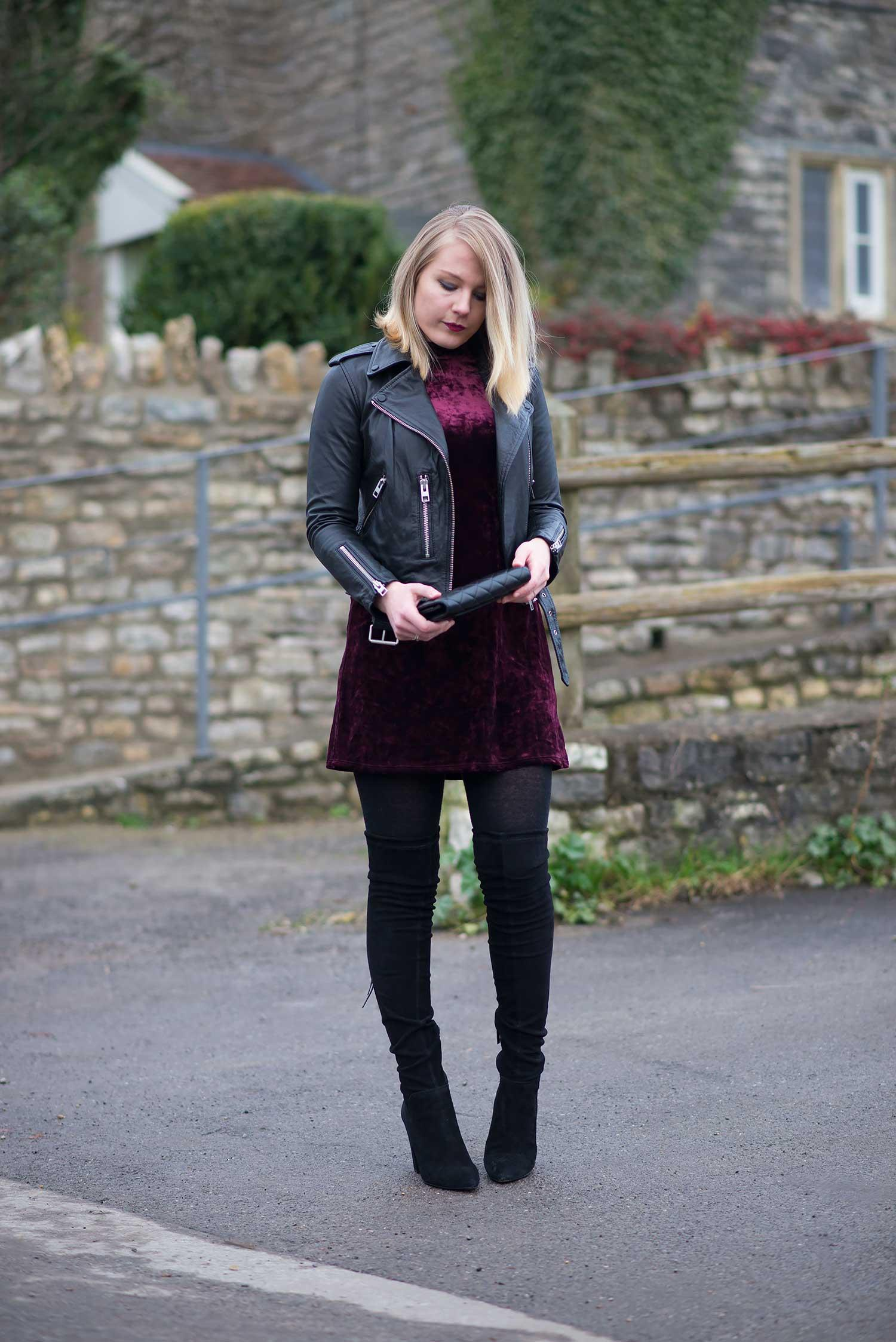 ca93278de8d7 Layered Over A Dress With Over The Knee Boots