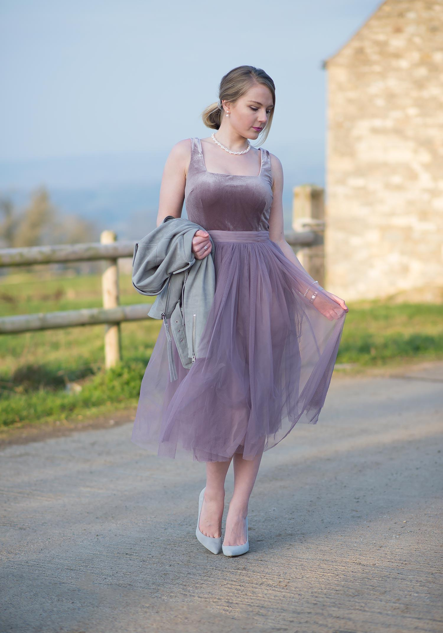 Little Mistress Tulle Midi Dress with Velvet Bodice Outfit