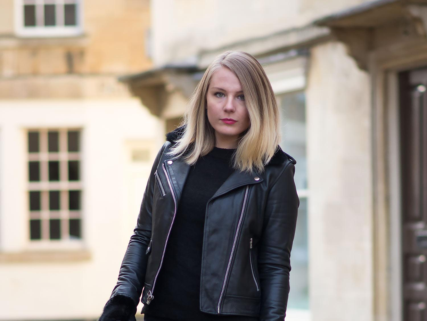 goosecraft black leather biker jacket on a blogger