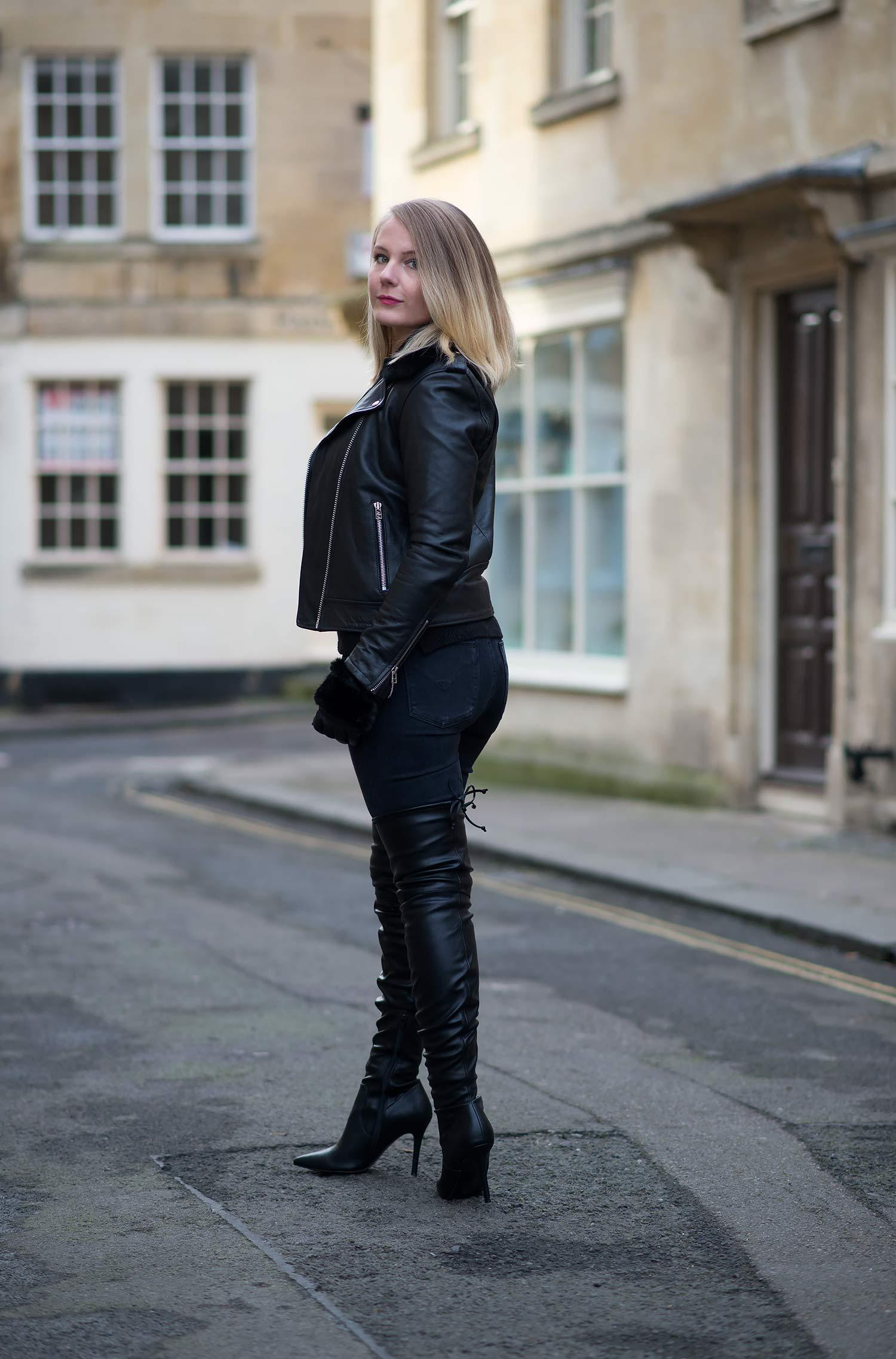 lorna burford leather thigh high boots leather jacket fashion blogger