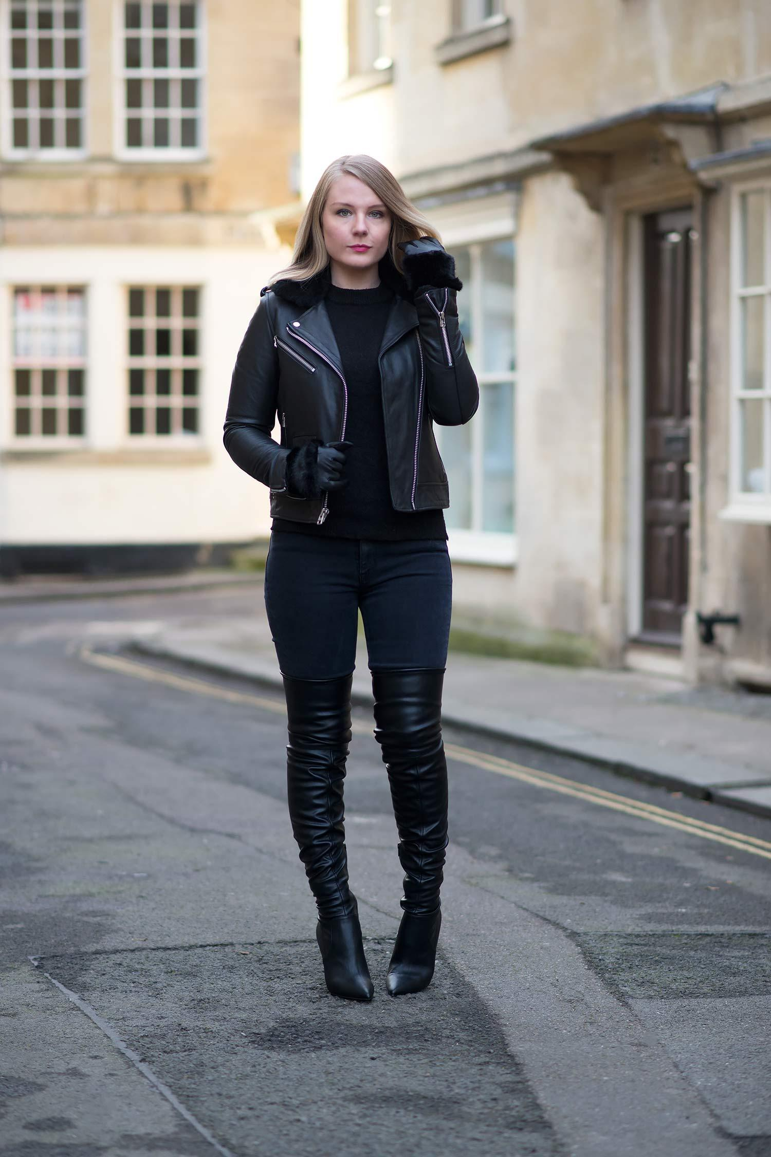 lorna burford street style fashion blogger black leather outfit