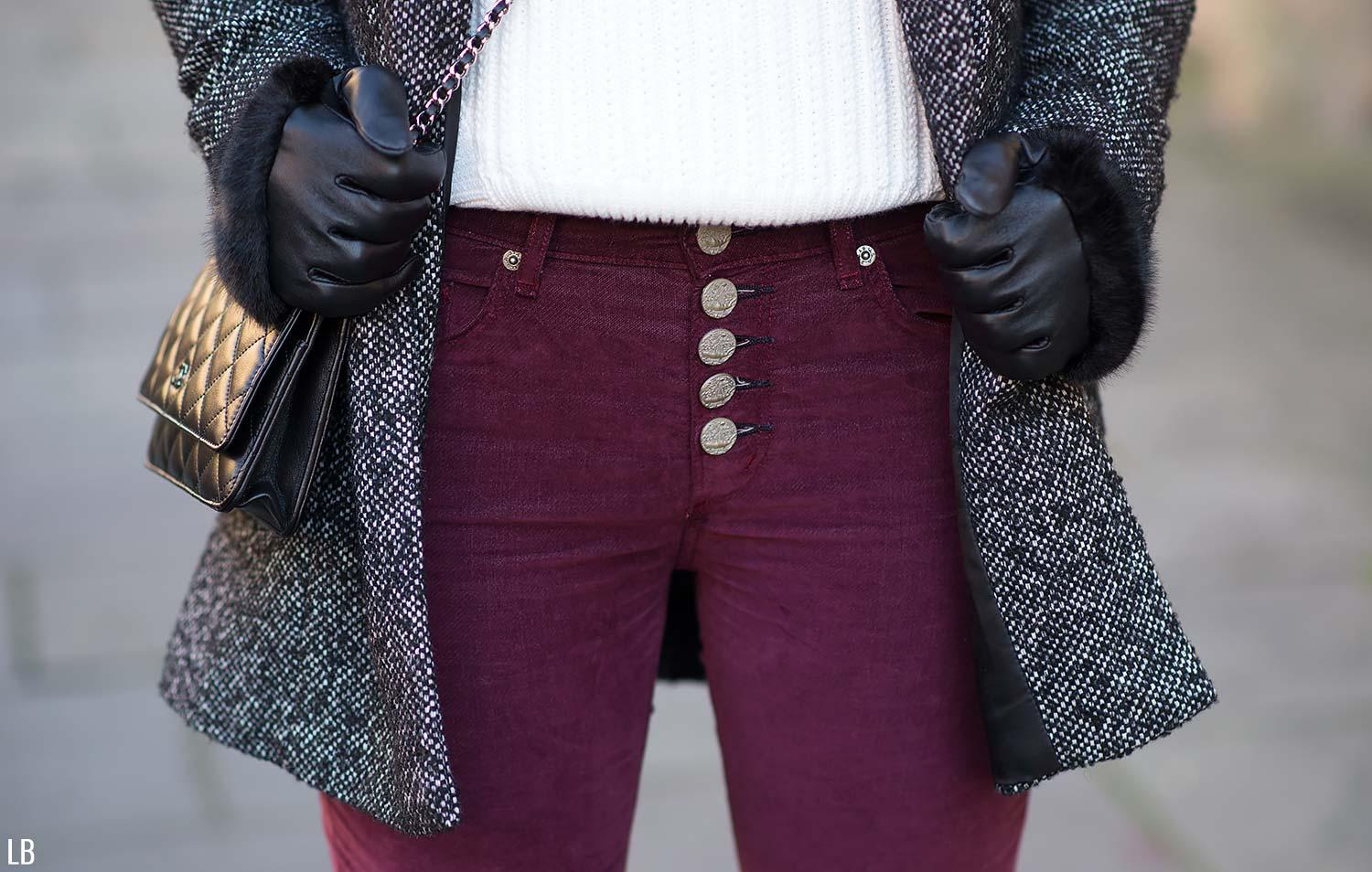 mcguire velvet jeans exposed buttons