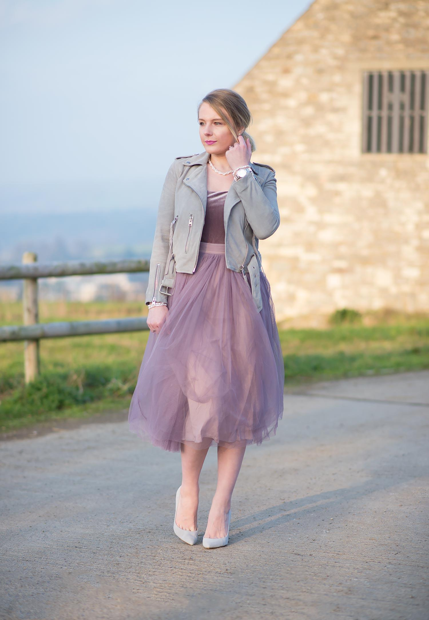 purple velvet tulle dress grey suede jacket