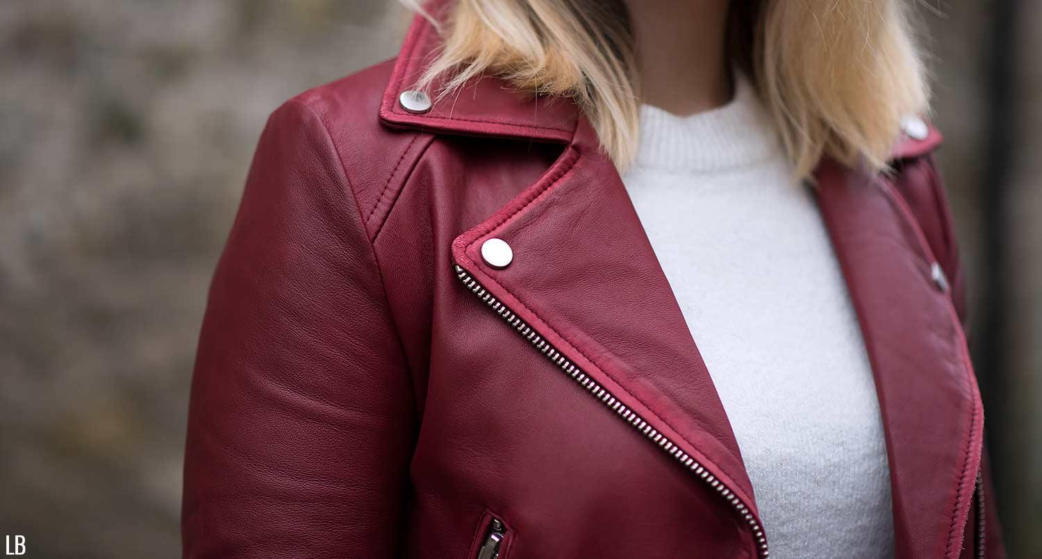 a738c069 The Burgundy Leather Jacket & Boots | Raindrops of Sapphire