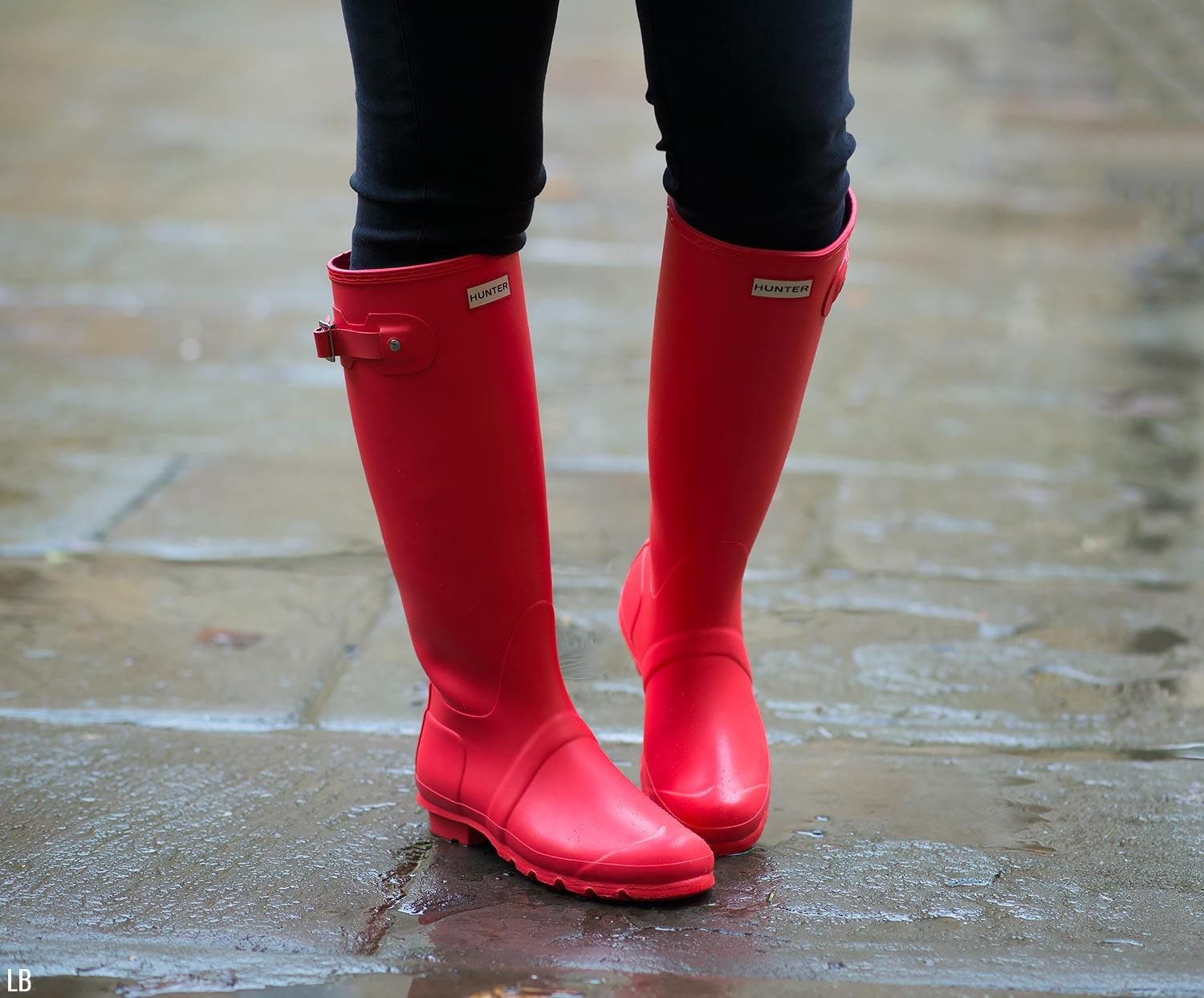 Rainy Days In Bright Coral Wellies Raindrops Of Sapphire