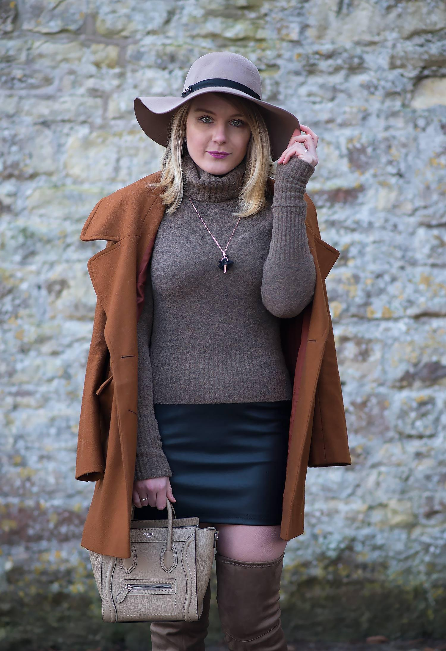 lorna burford floppy hat with coat and roll neck jumper
