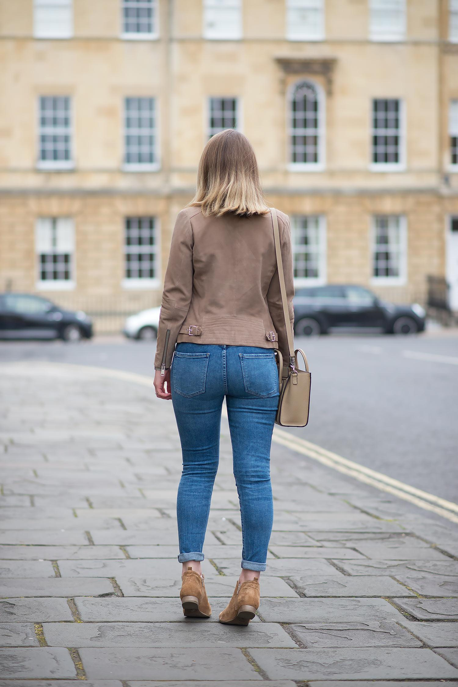 Reiss Sophie Suede Jacket With Agolde Sophie Jeans