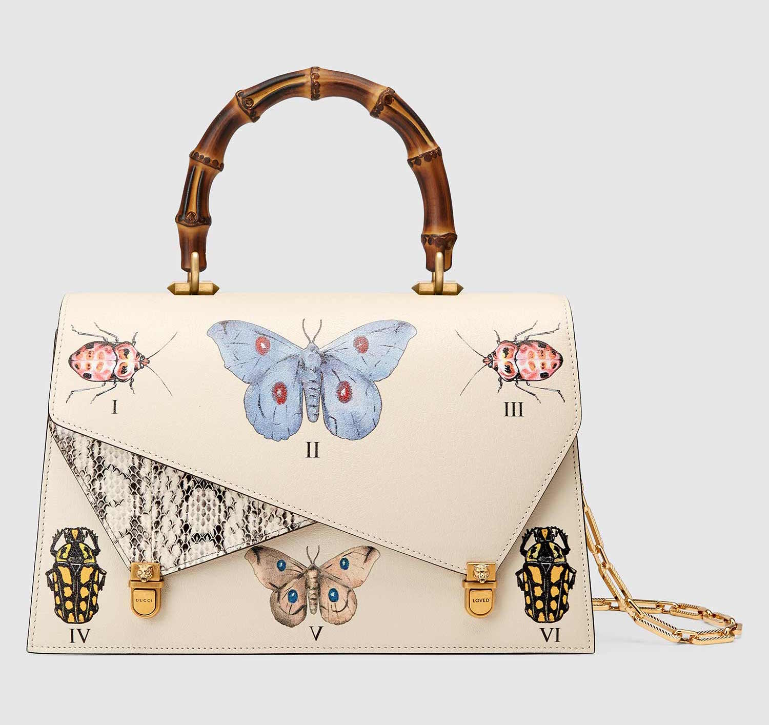 139b97a5bb55 GUCCI OTTILIA WHITE LEATHER TOP HANDLE BAG