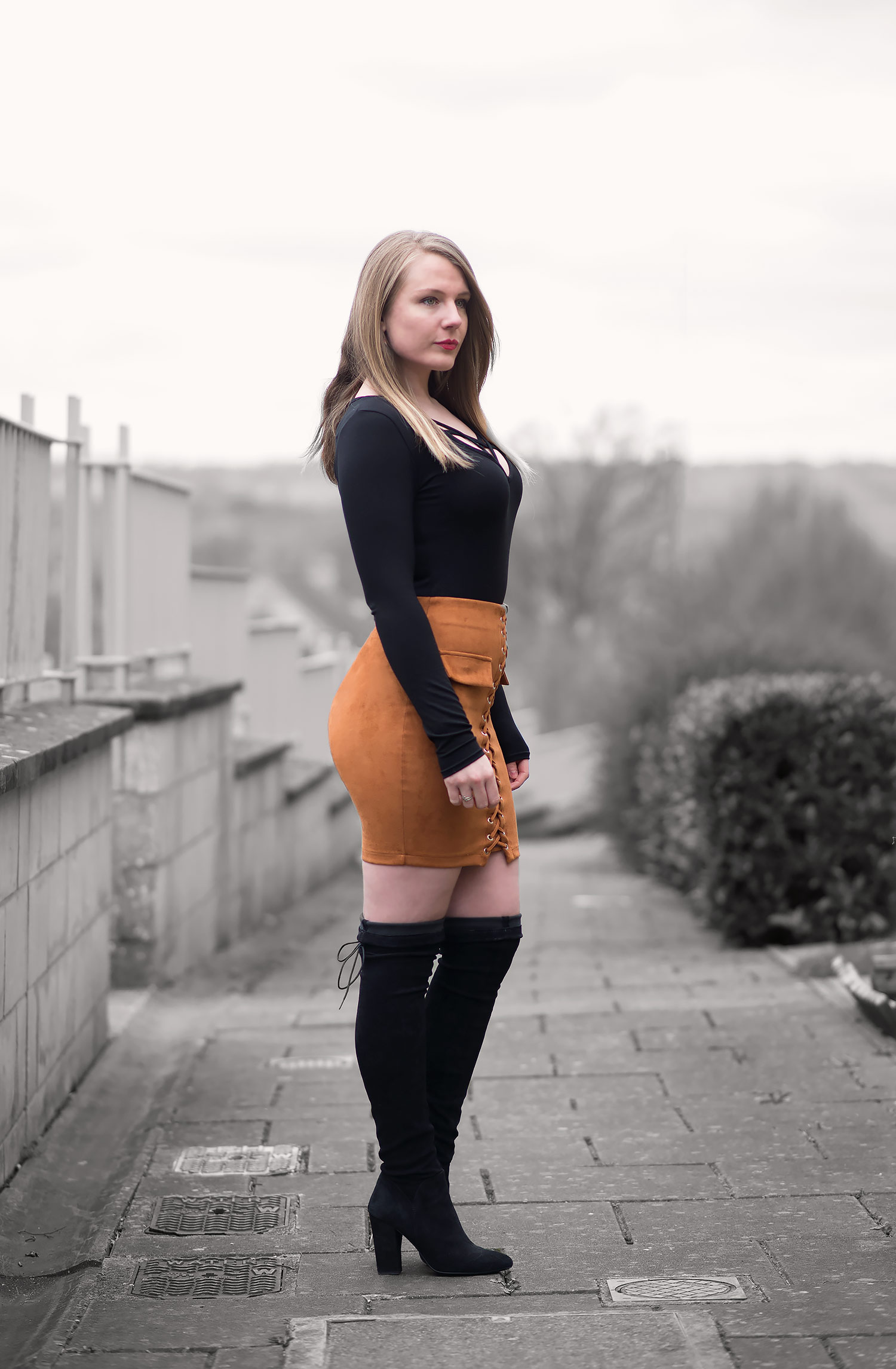 The Lace Up Skirt And Boots Outfit | Raindrops of Sapphire