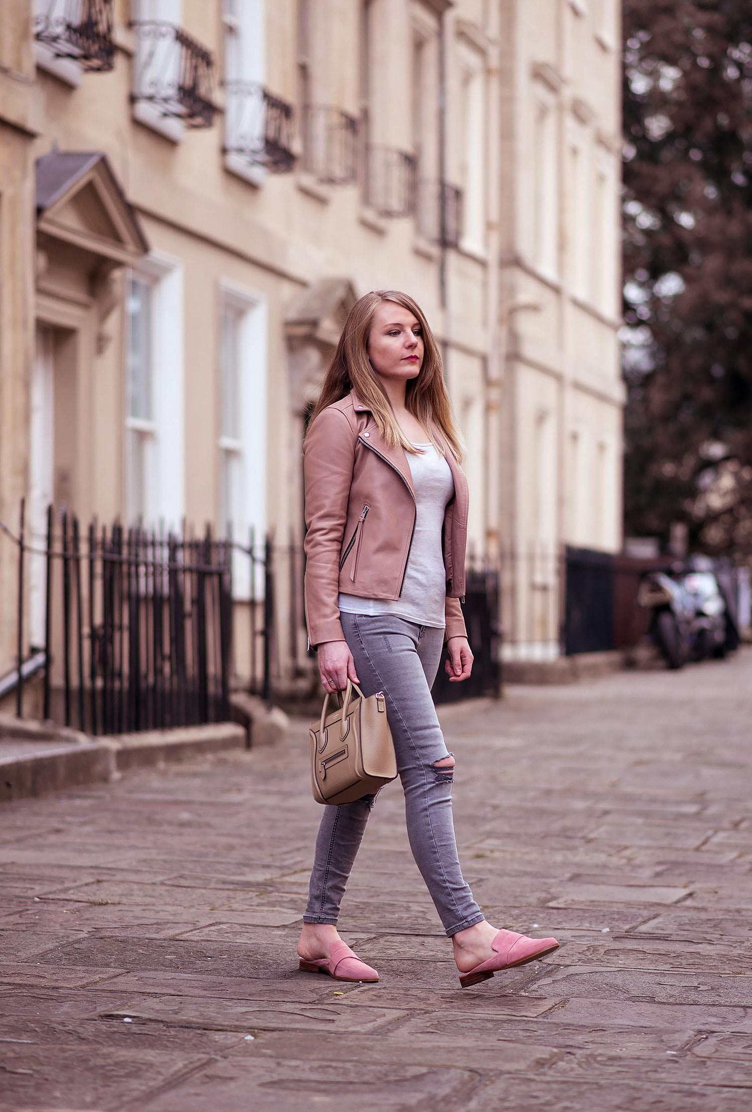 4fb34b912ed26 The Allsaints Blush Pink Leather Jacket Outfit | Raindrops of Sapphire