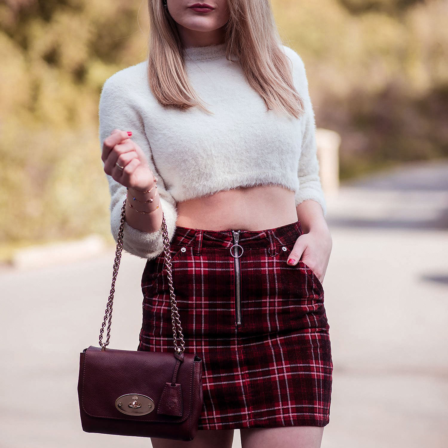 The Tartan Corduroy Skirt With Boots