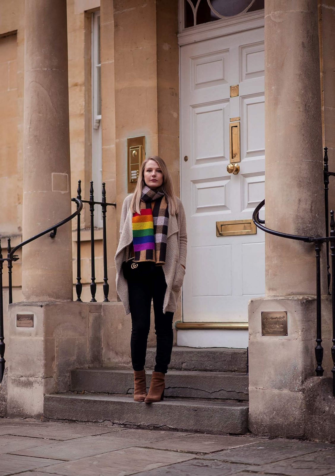 The Burberry Rainbow Scarf Outfit