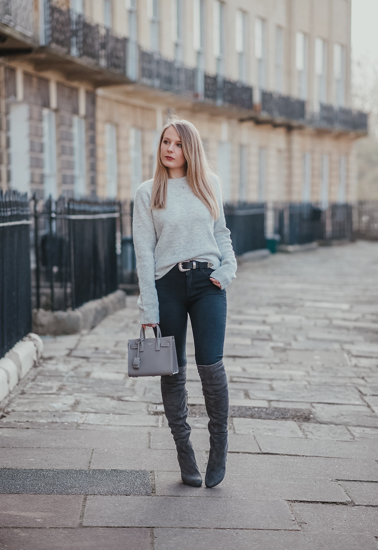 Monochrome Grey Over The Knee Boots
