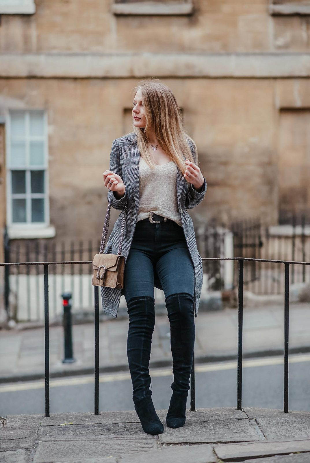 The Grey Checked Blazer With Black Boots