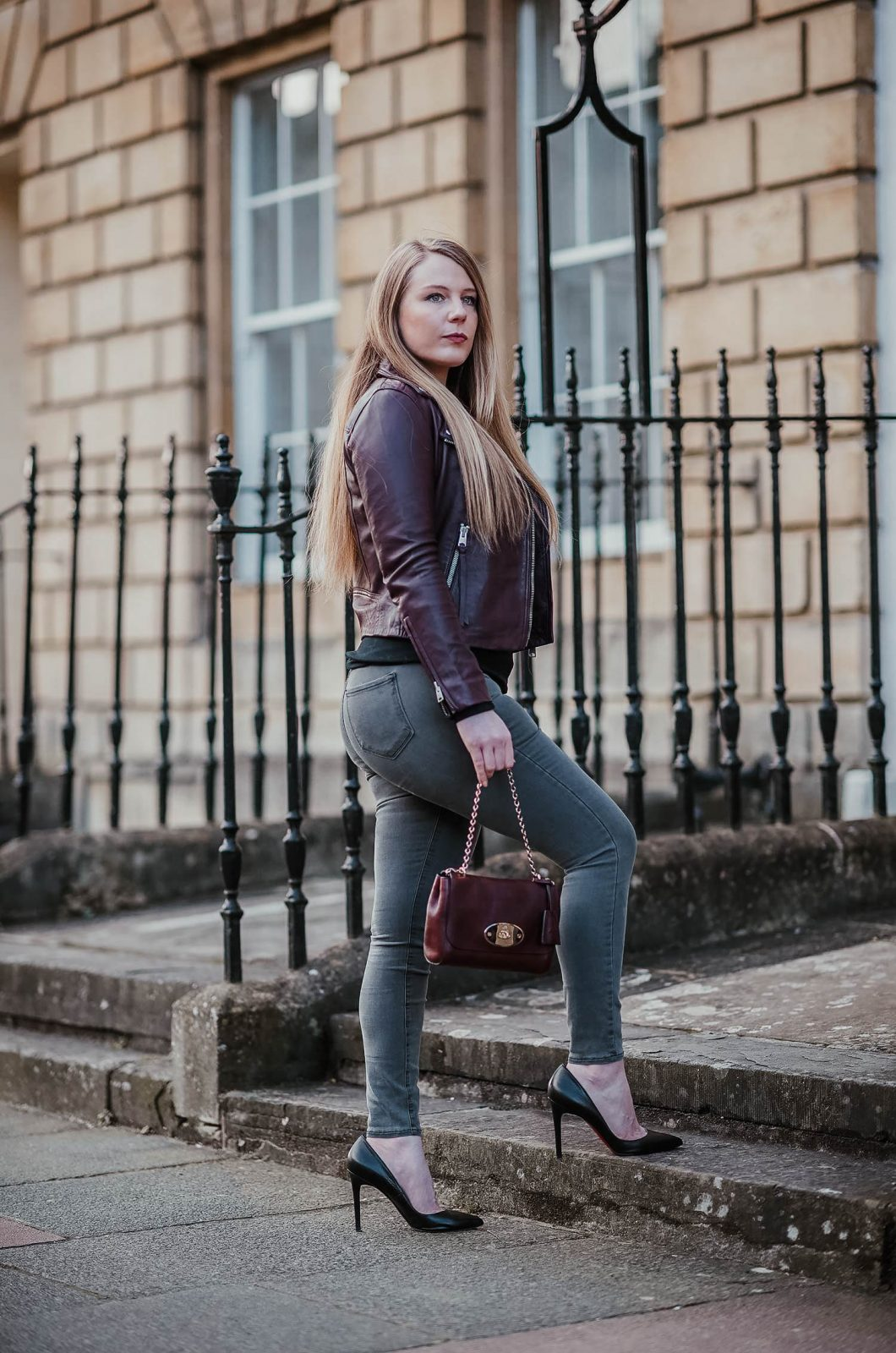 A Burgundy Leather Jacket Outfit