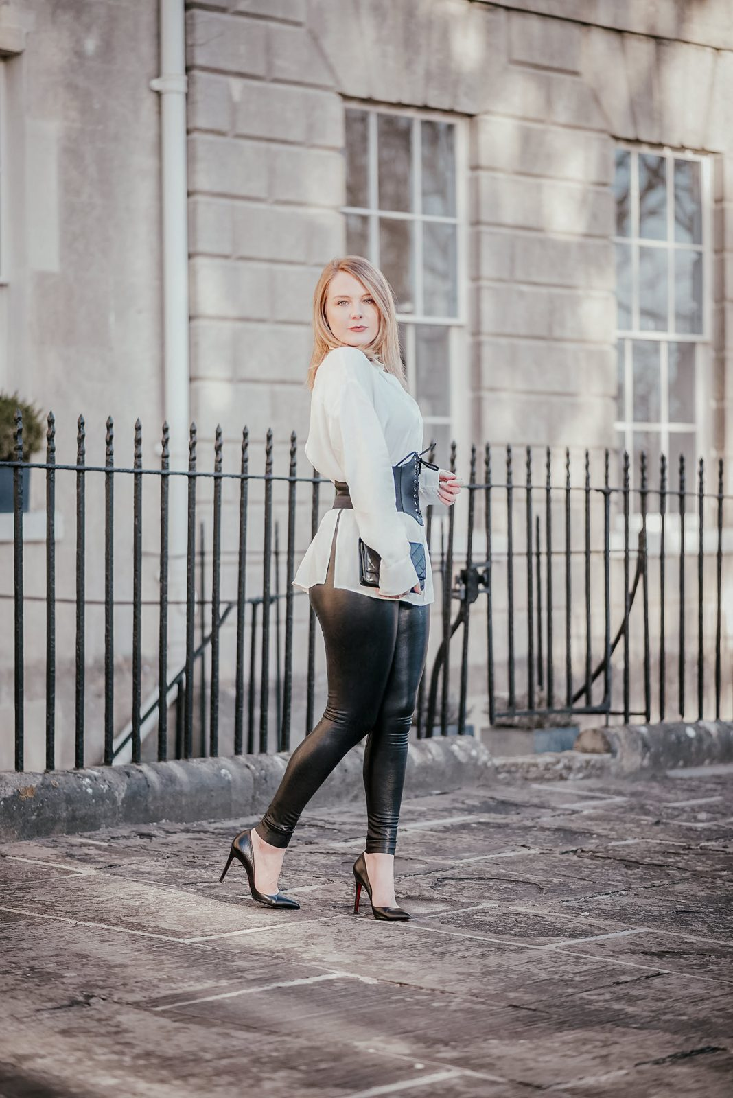 Leather Leggings With A Corset Belt